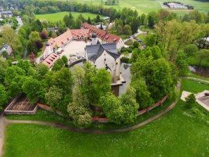 Wasserschloss Klaffenbach - Luftbild Areal