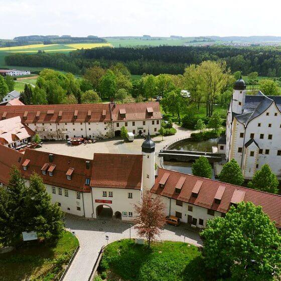 Wasserschloss Klaffenbach - Luftbild Eingang