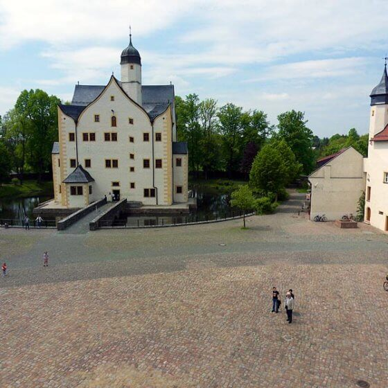 Wasserschloss Klaffenbach - Blick vom Hotel