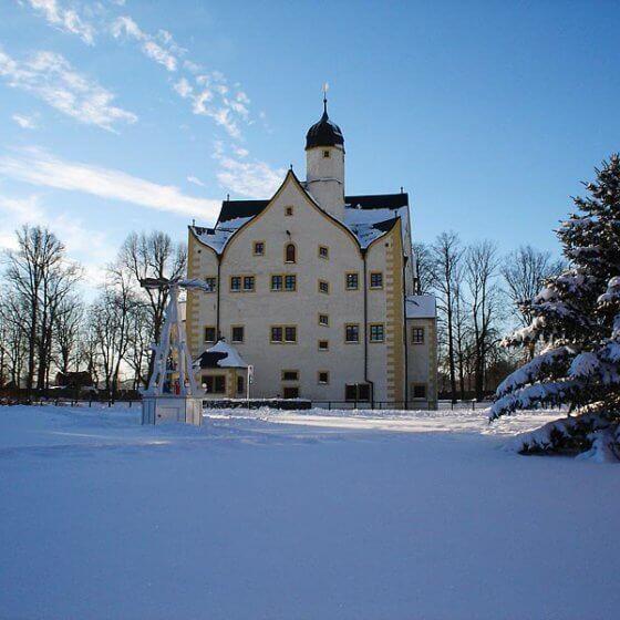 Wasserschloss Klaffenbach - im Schnee